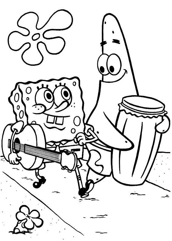 Спанч боб с гитарой и патрик с барабаном Распечатать раскраски для мальчиков