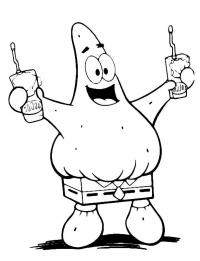 Патрик с напитками Распечатать раскраски для мальчиков