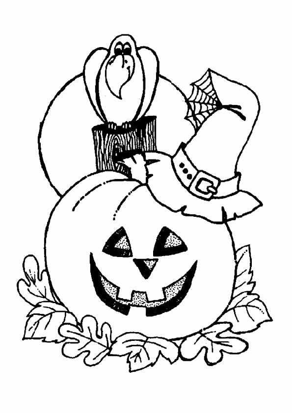 Тыква и ворон, хэллоуин Раскраски для мальчиков