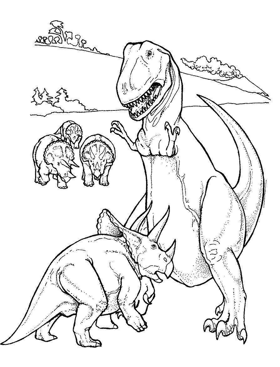 Охота тиранозавра Раскраски для мальчиков