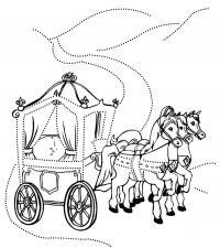 Карета запряженная лошадьми Раскраски для детей мальчиков