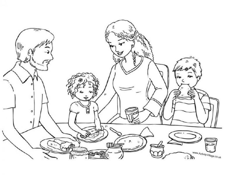 Семья за столом Скачать раскраски для мальчиков