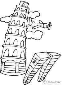 Пизанская башня, самолет Раскраски для мальчиков бесплатно