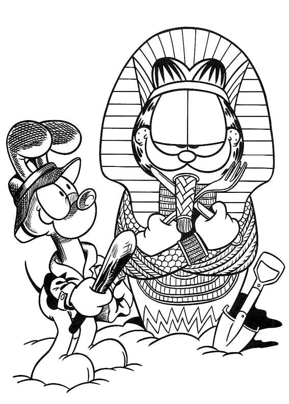 Гарфилд фараон Раскраски для мальчиков бесплатно
