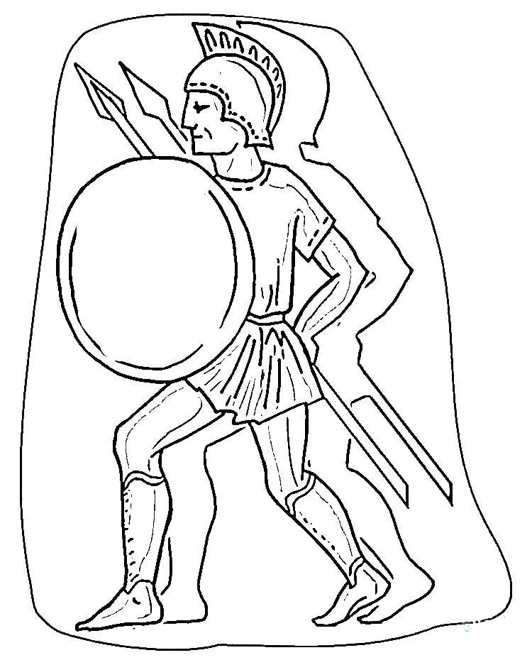 Римский легионер с копьем и щитом Раскраски для мальчиков