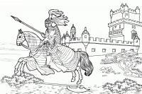 Римский воин на лошади, легионер Раскраски для мальчиков