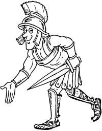 Римский легионер с мечом Раскраски для мальчиков