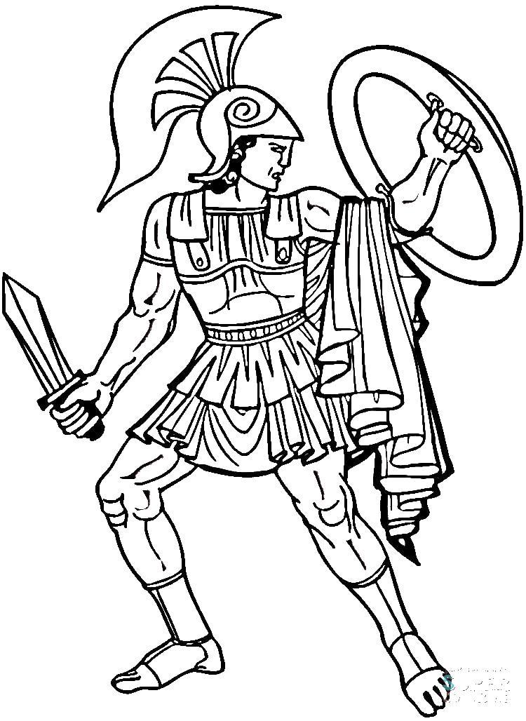 Греческий воин с мечом и щитом Раскраски для мальчиков