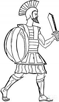 Греция, воин, меч, щит Раскраски для мальчиков
