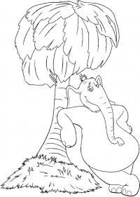 Слон возле пальмы Скачать раскраски для мальчиков