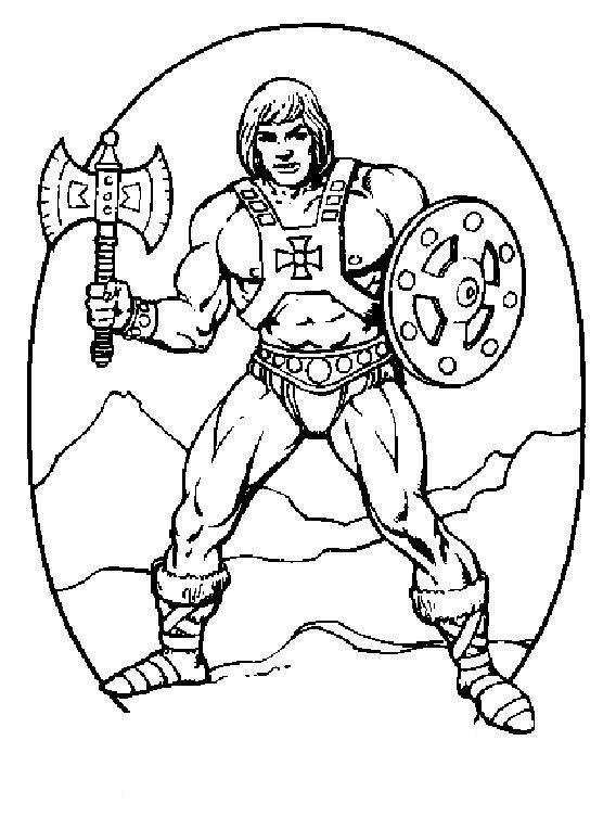 Викинг с топором и щитом Раскраски для мальчиков бесплатно