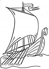 Корабль плывущий по волнам Раскраски для мальчиков