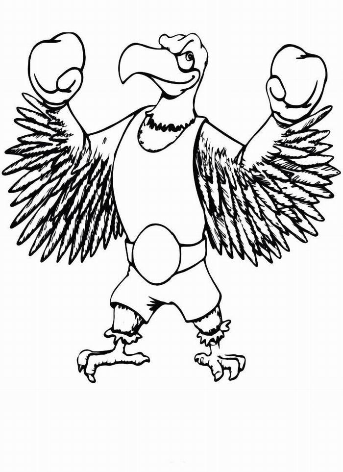 Бокс, орел в перчатках Распечатать раскраски для мальчиков