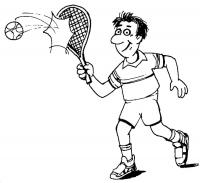 Теннис, отбить мяч в беге Раскраски для мальчиков