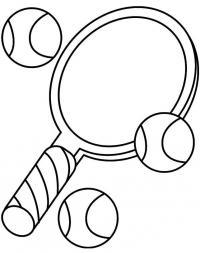 Ракетка для тенниса и мячи Раскраски для мальчиков