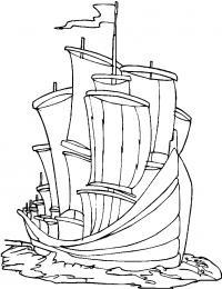 Корабль в океане Раскрашивать раскраски для мальчиков
