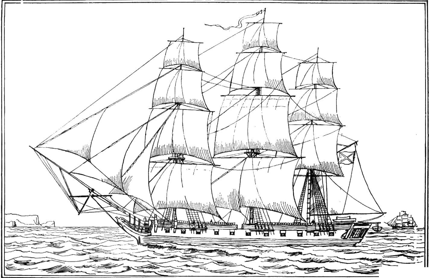 Большой парусный корабль Раскрашивать раскраски для мальчиков