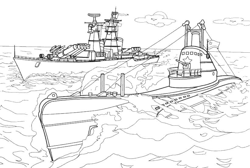 Военные корабли Раскрашивать раскраски для мальчиков