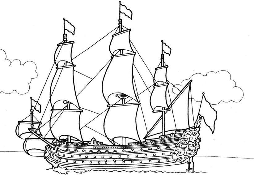 Большой фрегат фрегат паруса флаг раскраски скачать ...