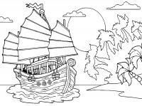 Корабль приплыл к острову Раскрашивать раскраски для мальчиков