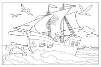 Пиратский корабль плывет по морю Раскрашивать раскраски для мальчиков