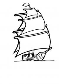 Корабль с парусами плывет Раскрашивать раскраски для мальчиков