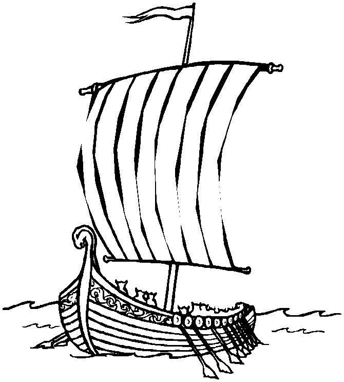Корабль викингов Раскрашивать раскраски для мальчиков