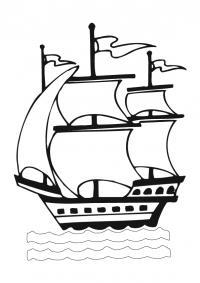 Корабль плывет по волнам Раскрашивать раскраски для мальчиков