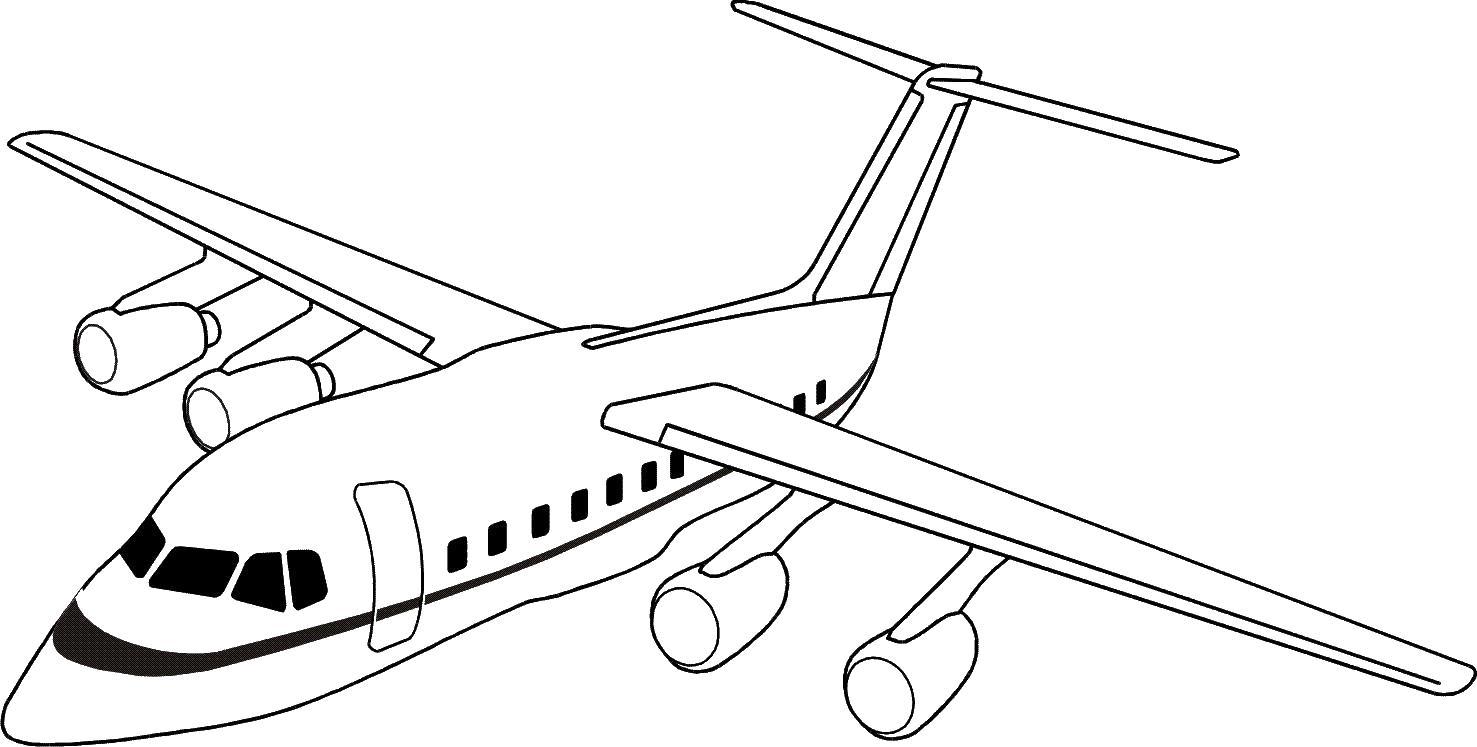 Пассажирский самолет в полете Раскраски для мальчиков бесплатно